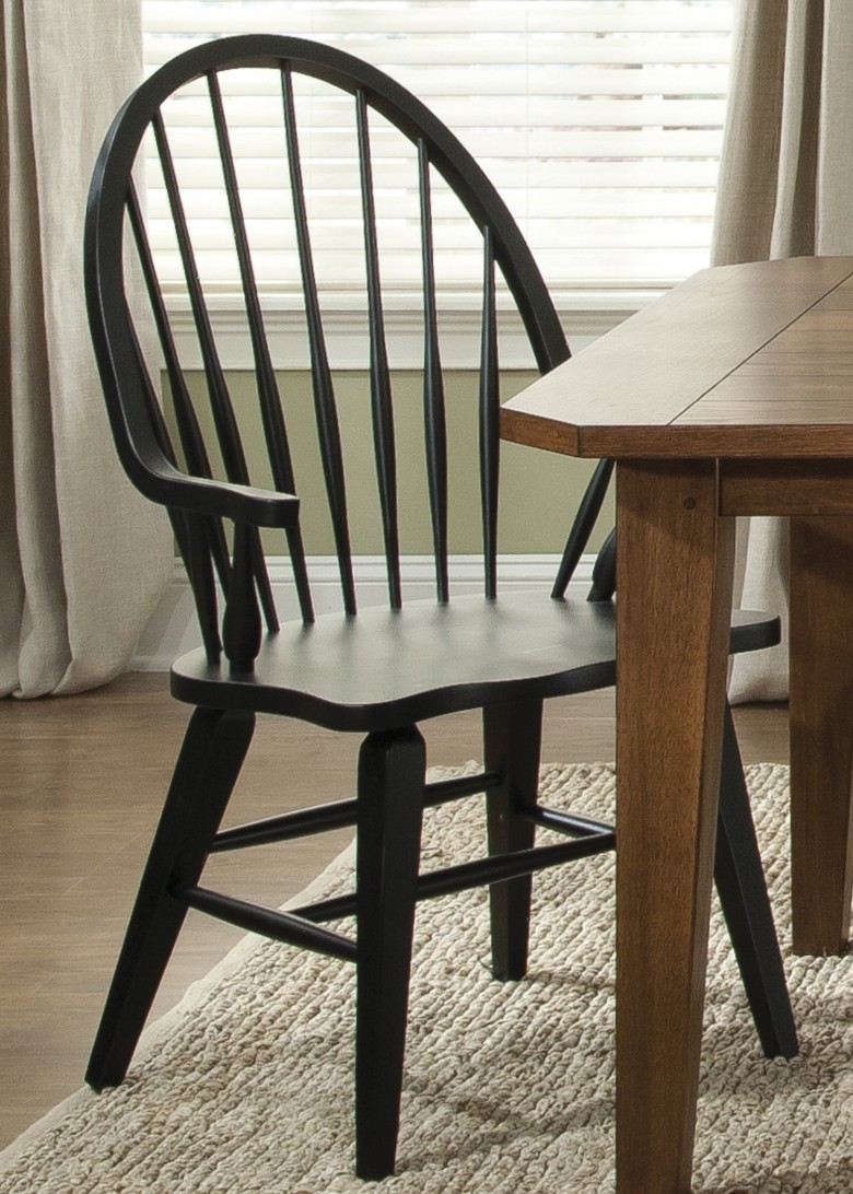 Hearthstone Black Windsor Back Arm Chair by Liberty